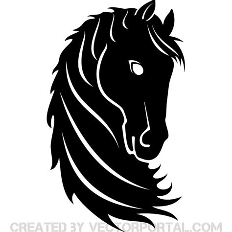 black horse head free vector 123freevectors
