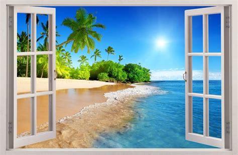 strand wohnzimmer dekor wandaufkleber fenster 3d palmen strand sonne wand dekor