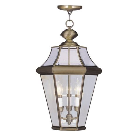 Outdoor Pendant Lighting Fixtures Livex 3 Light Med Outdoor Pendant Lighting Fixture Solid Antique Brass Glass Ebay
