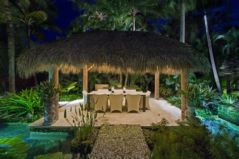 Tropical Patio Design Gorgeous Hardware Hut Pool Ideas With Arches Balcony
