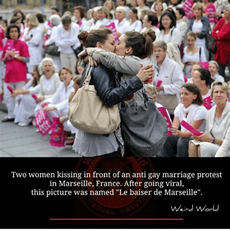 Anti Gay Marriage Meme - two women kissing in front of an anti gay marriage protest