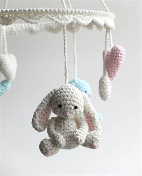 Handmade Mobile - baby mobile crochet bunny mobile newborn crib mobile by