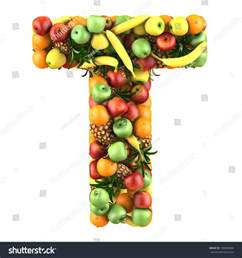 letter t made fruits isolated on stock illustration