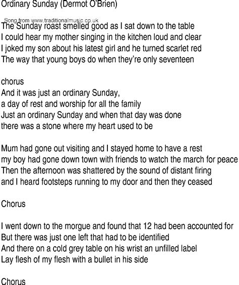 song lyrics song and ballad lyrics for ordinary sunday