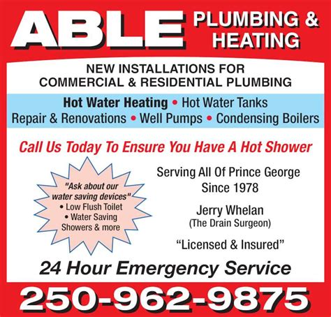 Ads Plumbing And Heating by Able Plumbing Heating Prince George Bc 6733 Lilac