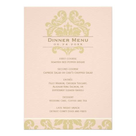 personalized formal wedding menu invitations