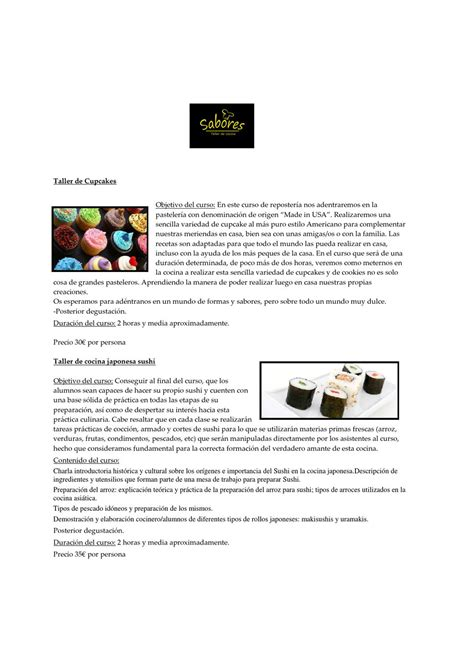 taller cocina sabores sabores taller de cocina by sabores taller issuu