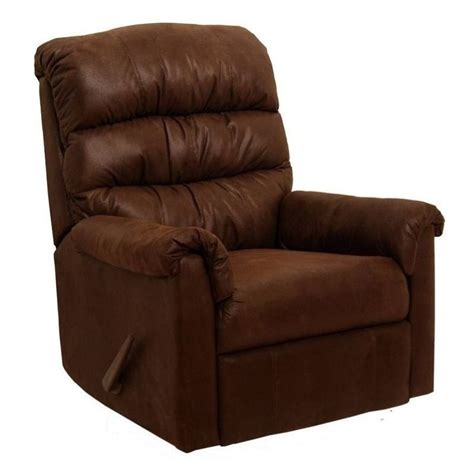 microfiber rocking recliner catnapper capri fabric rocker recliner chair in chocolate