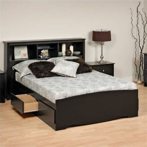 buy platform bed 1 buy discount prepac black sonoma double full platform