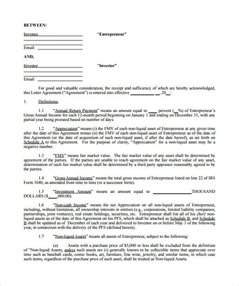 contract agreement templates 9 investment contract templates free word pdf