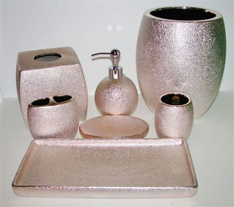 rose gold bathroom accessories 6 pc set caro shiny metallic rose gold pink soap dispenser