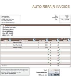 free auto repair invoice template auto parts invoice studio design gallery best design