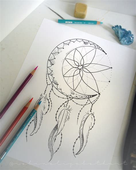 coloring pages moon dreamcatcher dining serving