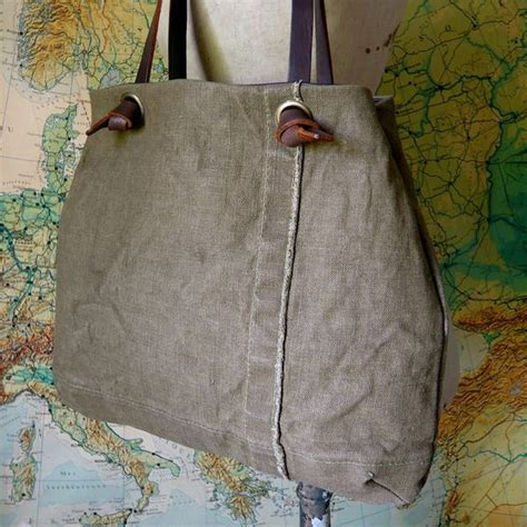 Tote Bag Simple Hijau Army reclaimed tent canvas knot tote antiques and bags