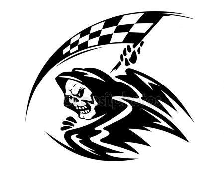 使用 ckeckered 标志的黑色死亡恶魔 图库矢量图像 169 seamartini 13714626