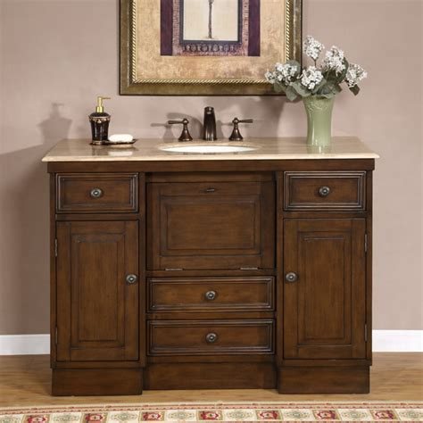 Countertop Bathroom Cabinet - silkroad exclusive travertine 48 inch countertop single sink bathroom vanity cabinet free