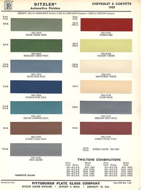 1959 classic chevrolet colors