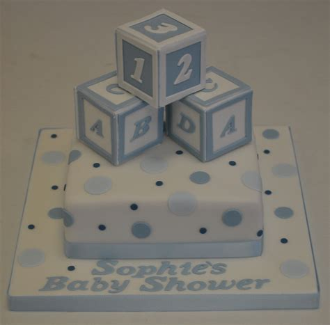 Baby Shower Cakes With Blocks by 6 Quot Square Polka Dot And Building Blocks Baby Shower Cake
