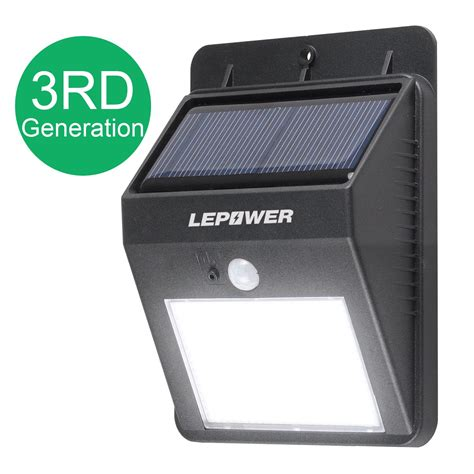 solar outdoor motion lights lepower bright led wireless solar powered motion sensor