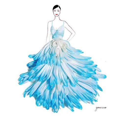 sketsa design gaun malam desain gaun dari kelopak bunga sungguhan fashion