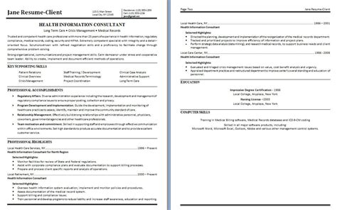 Information Consultant health information consultant free sle resume vinodomia