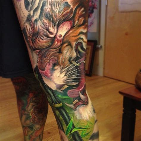 japanese tattoo leg designs furious tiger japanese on leg best ideas