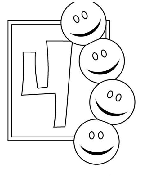 Number 4 Coloring Pages Preschool by Coloring Pages For Number Four Quot 4 Quot Coloring Pages