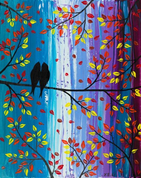 Handmade Paintings - original painting birds painting handmade wall