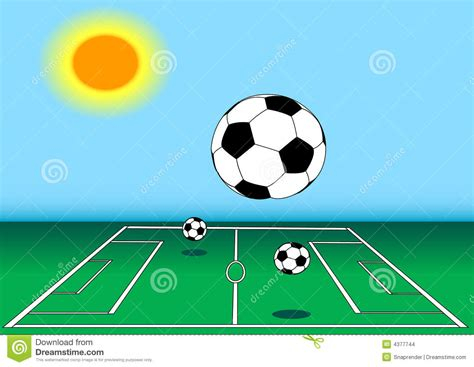 soccer in sun and soccer balls on field in sun stock images image 4377744