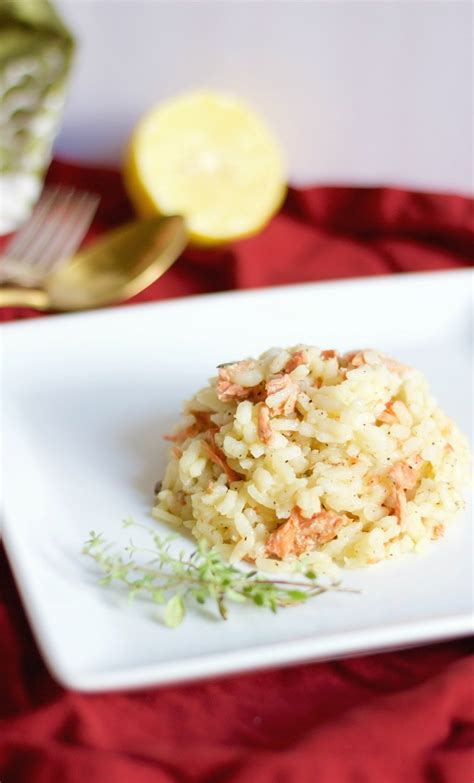 salmon and risotto brown butter salmon risotto with lemon and thyme gf