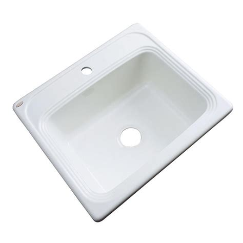 Single Bowl Drop In Kitchen Sink Thermocast Wentworth Drop In Acrylic 25 In Single Bowl Kitchen Sink In White 27000 The Home Depot