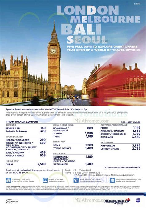 Visit Malaysia 2007 Promotional by Malaysia Airlines Mitm Travel Fair Promo Fares 17 Aug 2015