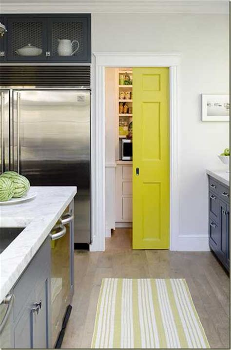 yellow color accents jazz up gray kitchen decorating