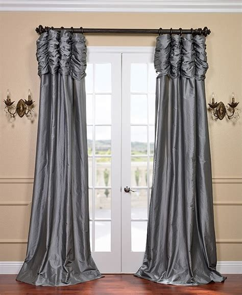 taffeta curtains platinum ruched faux solid taffeta curtain contemporary
