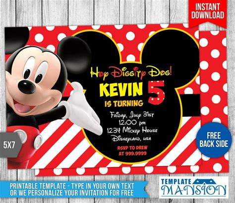 Mickey Mouse Clubhouse Birthday Invitation By Templatemansion On Deviantart Mickey Mouse Clubhouse Birthday Invitations Template