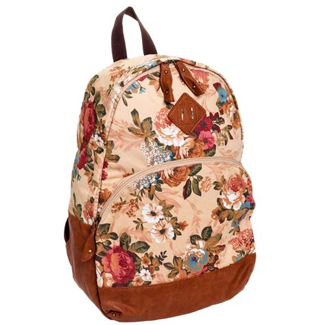 j carrot beige flower print canvas backpack floral school
