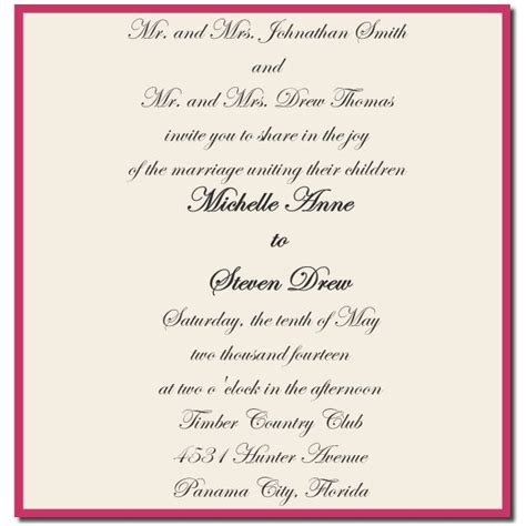formal wedding invitation format formal wedding invitations wording for both parents