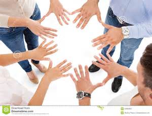 friends making circle shape with hand royalty free stock