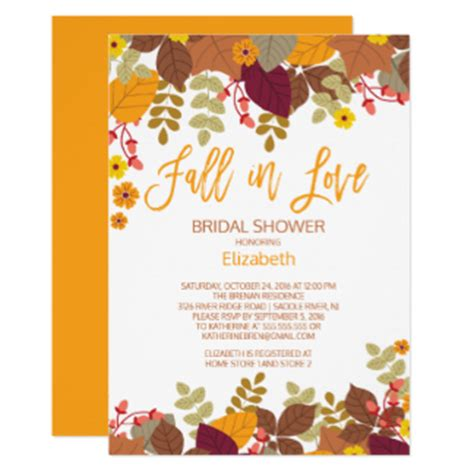 free fall themed bridal shower invitations fall bridal shower invitations announcements zazzle
