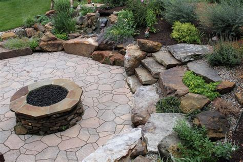 rock fire pits landscape traditional with belgard bistro