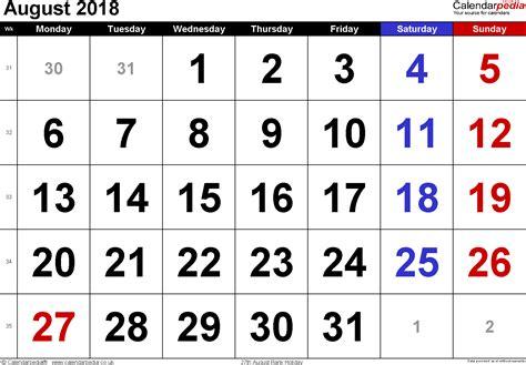 United Kingdom Uk Kalender 2018 Calendar August 2018 Uk Bank Holidays Excel Pdf Word