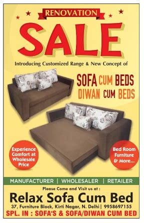 Relaxo Sofa Cum Bed Sale New Delhi Saleraja