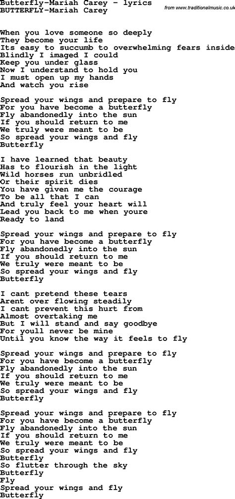 and butterfly lyrics song lyrics for butterfly carey