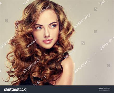 Dress Tong Flower Big 081804 beautiful wavy hair stock photo