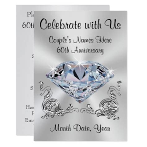60th Wedding Anniversary Invitation Cards