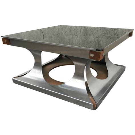 Metal Square Coffee Table Maison Jansen 1970s Brushed Steel And Wood Square Coffee Table At 1stdibs