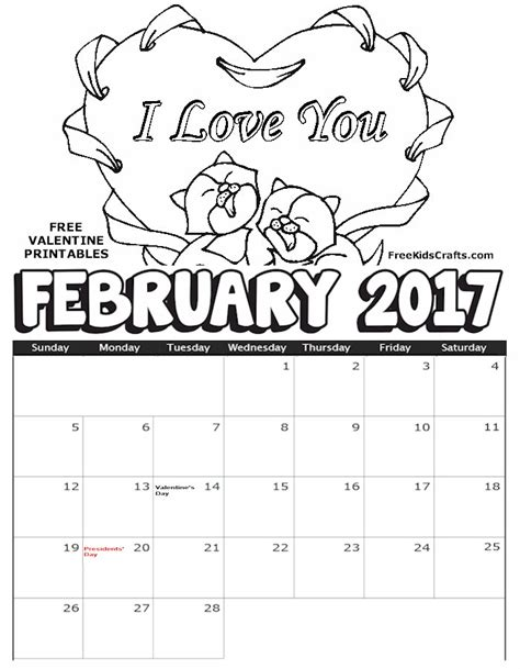 february color 2017 february coloring calendar
