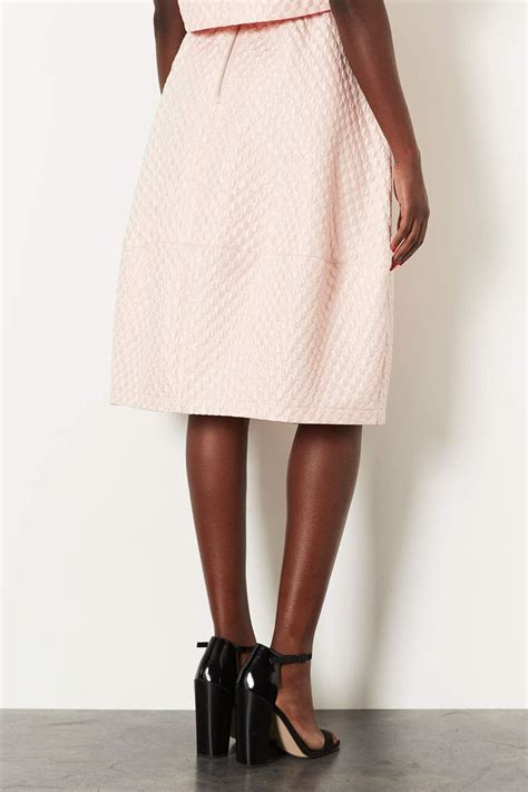 topshop pale pink jacquard midi skirt ebay