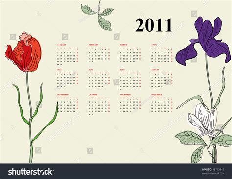 template for decorative calendar for 2011 stock vector