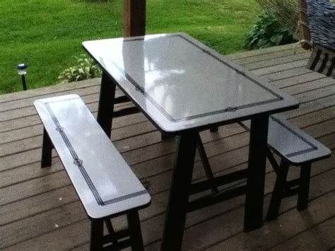 picnic table turns into bench vintage enamel table with sliding leaves turned into a